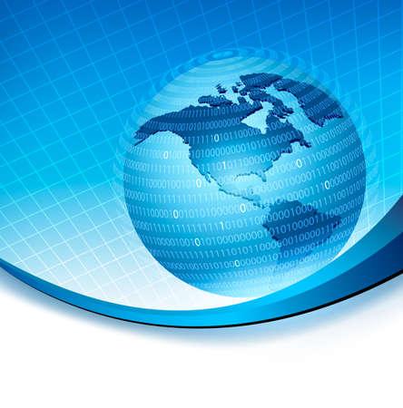 web commerce: Globe intrappolato in una sfera in concetto di codice binario di programmazione globale