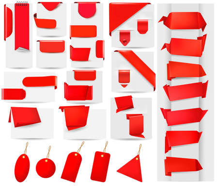 web menu: Big collection of red origami paper banners and stickers  Vector illustration