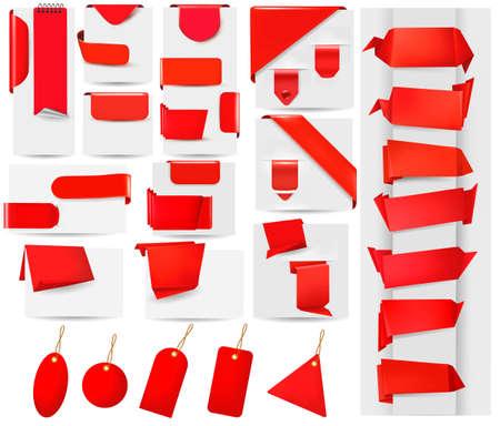 office products: Gran colecci�n de banderas rojas de papel de origami y la ilustraci�n vectorial pegatinas