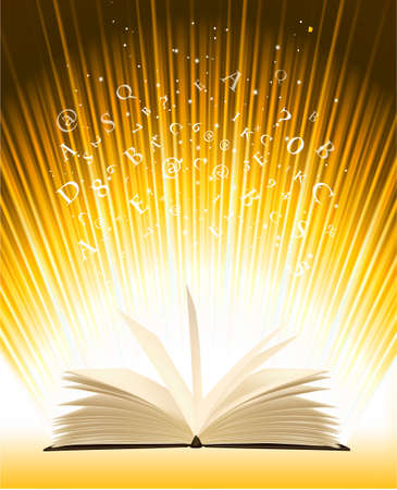 bookstore: Opened magic book with magic light  Vector illustration