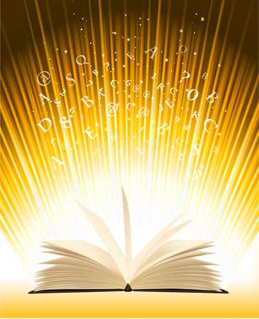novel: Opened magic book with magic light  Vector illustration