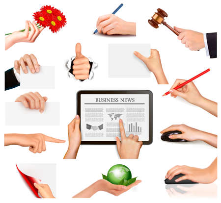 Set of hands holding different business objects  Vector illustration Stock Vector - 13617519