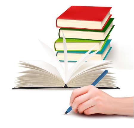 Hand with pen writing on paper and stack of book  Vector illustration  Vector