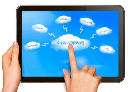 Cloud computing concept  Finger touching cloud on a touch screen  Vector  Vector