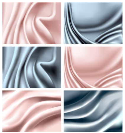 pink satin: Set of elegant colorful silk texture. Vector illustration.