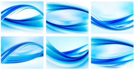 Collection of blue abstract backgrounds     Vector