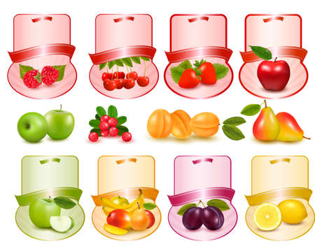 fresh juice: Set of labels with berries and fruit   Illustration