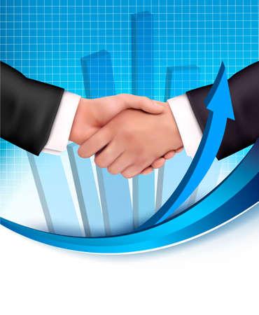 introducing: Apret�n de manos entre los hombres de negocios con un gr�fico en el fondo