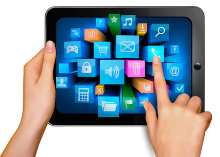 information technology icons: Hand holding touch pad pc and finger touching it s screen with icons