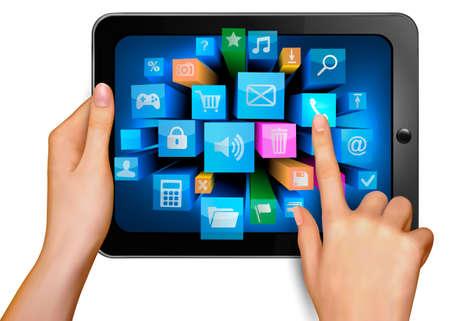 Main tenant pc pavé tactile et le doigt de toucher l'écran avec elle s icônes Vecteurs