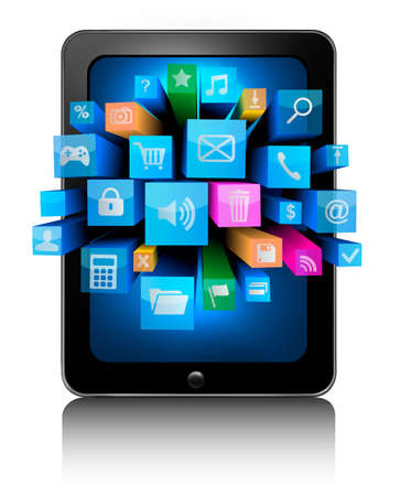 touch sensitive: Icons in a tablet  Vector   Illustration