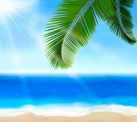 playas tropicales: Mar de vista con hojas de palma de Verano concepto de vacaciones de Vector de fondo Vectores