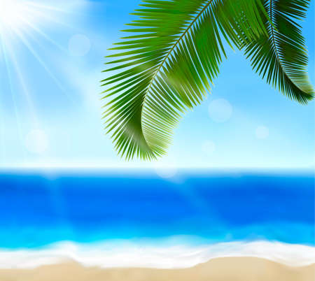 ocean sunset: Seaside view with palm leaves  Summer holidays concept background  Vector