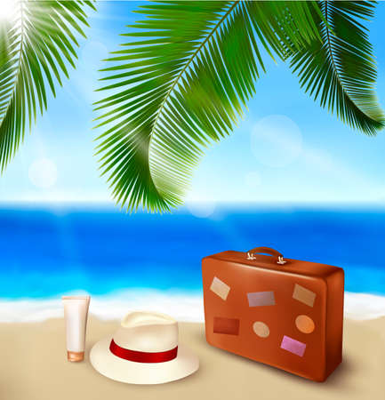 Seaside view with palm leaves, travel suitcase and a hat   Summer holidays concept background  Vector Stock Vector - 13929608