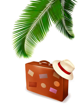 Seaside view with palm leaves, travel suitcase  Summer holidays concept background  Vector  Illustration