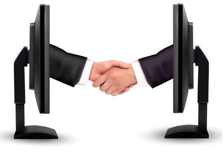 agreement shaking hands: Virtual handshake  Internet working concept  vector