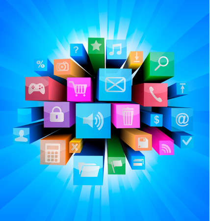 Abstract technology background with colorful icons  Vector  Illustration