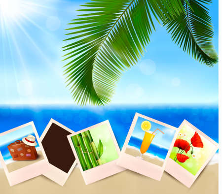 lost in space: Photos from holidays on a seaside  Summer holidays concept  Vector