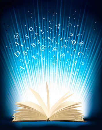 bible backgrounds: Opened magic book with magic light  Vector illustration