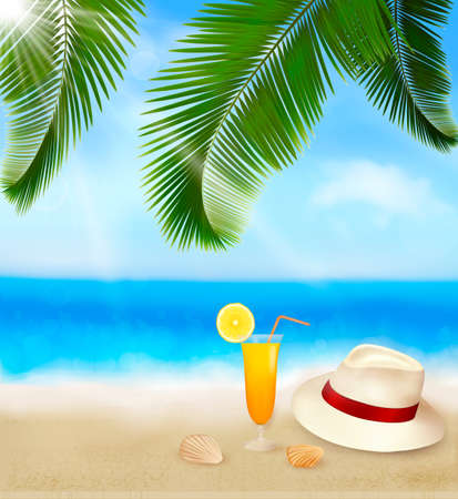 Seaside view with palm leaves, coctail and traveller s hat  Summer holidays concept background  Vector  Vector