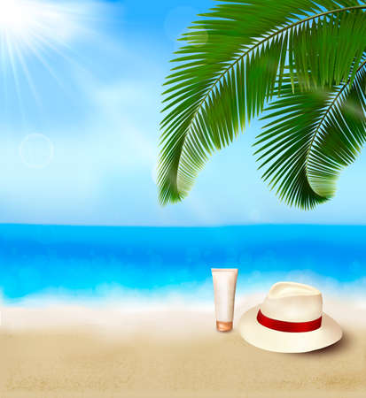 seychelles: Seaside view with palm leaves, cream and traveller s hat  Summer holidays concept background  Vector  Illustration