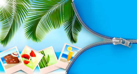 lost in space: Background with photos from holidays on a seaside  Summer holidays concept  Vector