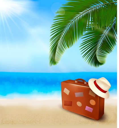 Seaside view with palm leaves, travel suitcase and a hat Summer holidays concept background Vector
