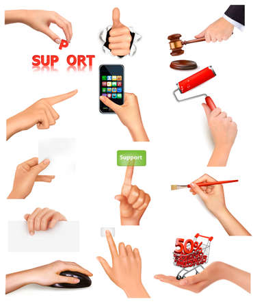 Set of hands holding different business objects  Vector illustration Stock Vector - 13929587