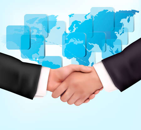 Handshake between business people with map of the world   Vector