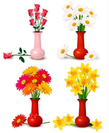 Spring and summer colorful flowers in vases   Ilustracja