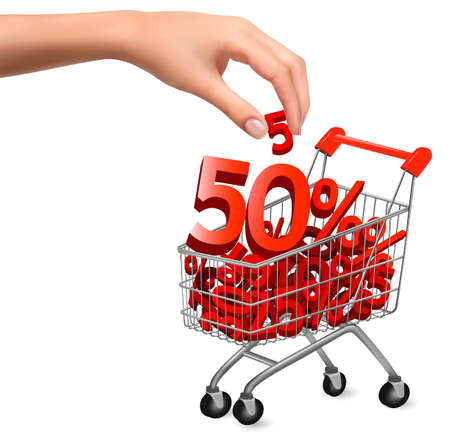 discount: Concept of discount  Shopping cart with sale  Vector illustration