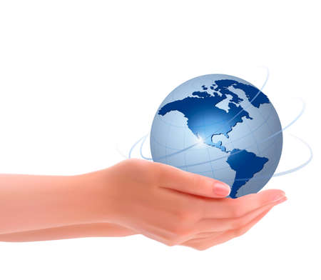 hands holding globe: Background with hands holding globe