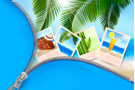 Background with photos from holidays on a seaside. Summer holidays concept.  Illustration