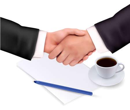 negotiating: Handshake over paper and pen.