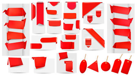 Big collection of red origami paper banners and stickers and labels.  Vector