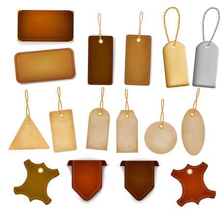Big set of leather labels and tags.  Vector