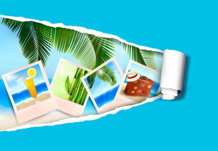 Fondo con las fotos de las vacaciones en una playa y el papel rasgado Vacaciones de verano Vector concepto de Vectores