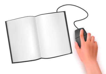 Hand with computer mouse and book  Vector illustration  Vector