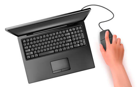 Hand with computer mouse and notebook  Vector illustration  Vector