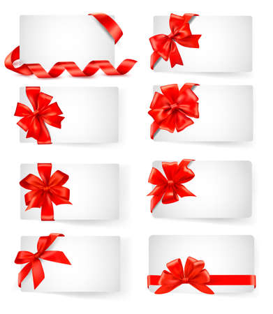 trumpery: Big set of cards with red gift bows with ribbons  Vector