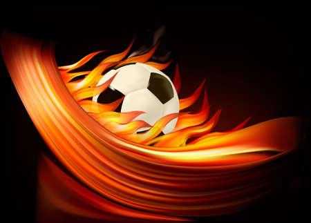 bannière football: Fond football feu avec un ballon de soccer. Vecteur