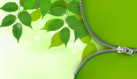 zipper: Nature background with fresh green leaves and zipper. Vector illustration. Illustration