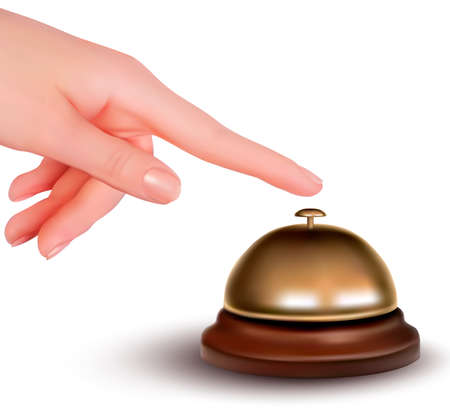 complain: Hand ringing the bell to call  Service desk  Vector illustration  Illustration