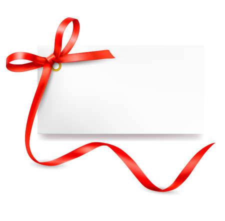 리본 벡터 빨간색 선물 활 카드 일러스트