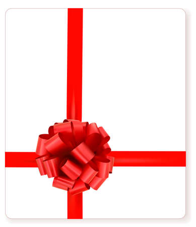 Card with red gift bow with ribbons Vector  Vector