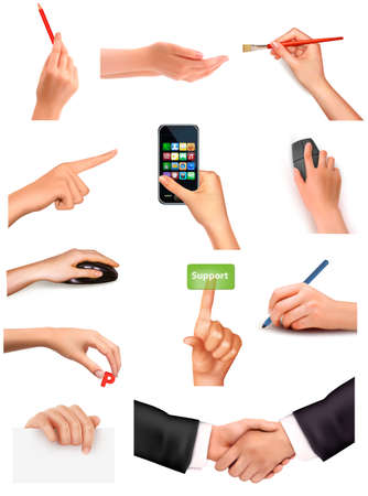 hand holding paper: Collection of hands holding different business objects  Vector illustration