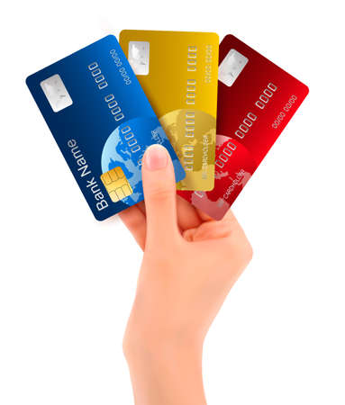 card payment: Male hand showing credit cards illustration