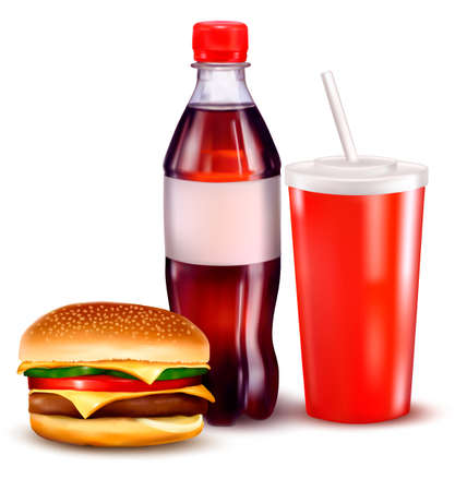 Hamburger and a bottle and drink  Vector