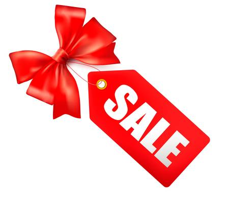 discount coupon: Sales tag with red gift bow illustration