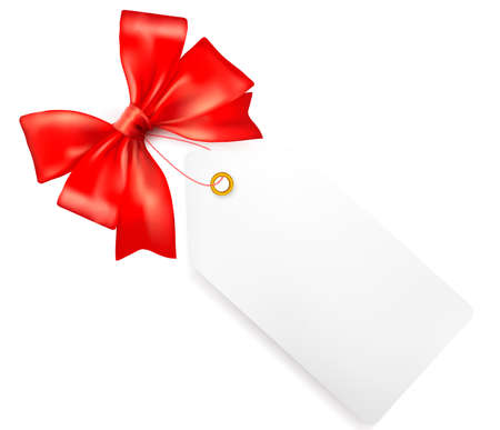 Card note with red gift bows with ribbons  Vector